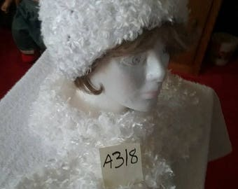 White Fuzzy Scarf and Hat Set