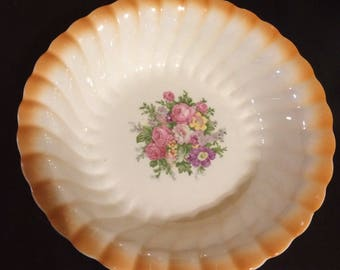 Vintage Homer Laughlin Serving Bowl, Rose Pattern, Scalloped Edges