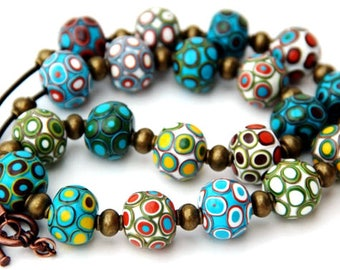 Bohemian necklaces, Polymer clay jewelry, Colorful clay beads, Beaded jewelry, Fashion jewelry, Geometric necklace, Handmade Bead necklace