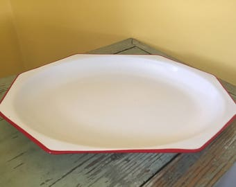 Vintage Large Red & White Enamel Octagon Tray Platter