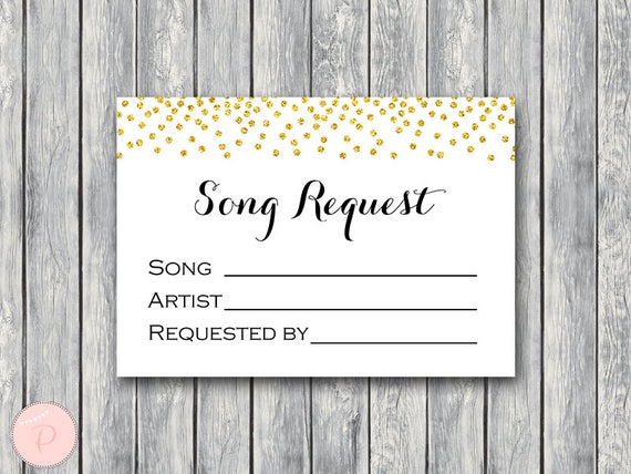 Gold Confetti Wedding Song Request Card RSVP With Printable Instant Download TH22