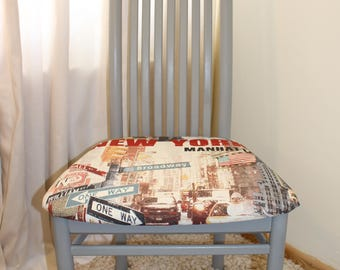 A set of 4 high backed simply gorgeous hand painted newly reupholstered cahire 'New York' fabric