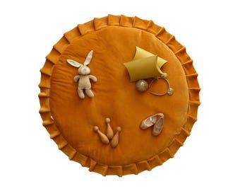 Play mat / Kids play mat / Baby round mat / Padded baby mat / Padded play mat / Mustard  play mat / Kids rug
