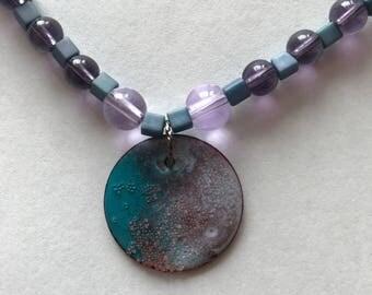 Dusty purple blue enameled choker