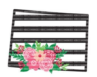 Wisconsin SVG File Black and White State Printable Clipart Floral Swag Silhouette Studio Cricut Design Space Cuttable File Scrapbooking