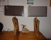 Paire de lampe en bois flotté uniques bois rare