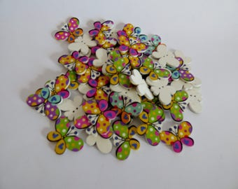 set of 6 wooden Butterfly buttons