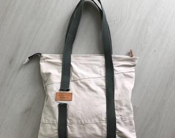 White canvas tote bag, shoulder bag