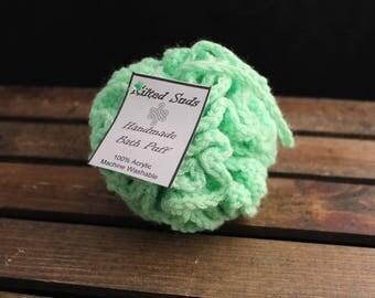 Green bath poof, Green bath puff, bath poof, bath pouf, scrubby, shower poof, shower pouf, shower puff, crochet pouf, crochet loofah