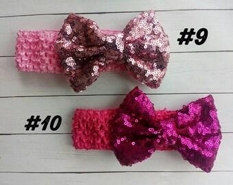Sequin Bow Headwraps | Sequin Bow Headbands | Christmas Headwraps | Christmas Headbands | Christmas Bows | Christmas Bow | Headband