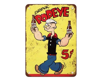 """1929 Popeye Soft Drinks - Vintage Look Reproduction 9"""" X 12"""" Metal Sign"""