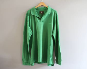 Timberland Polo Shirt Green Cotton Polo Button Up Long Sleeve Oversize Tee Minimalist Vintage 90s Size XXL #T190A