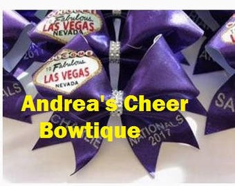 Welcome to Fabulous Las Vegas Cheer Bows - Jamz Nationals Cheer Bows - Glitter Vegas Cheer Bows