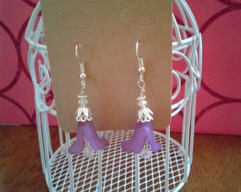 Beautiful Violet Lucite and Crystal Floral Drop Earrings.  Makes a Great Gift.