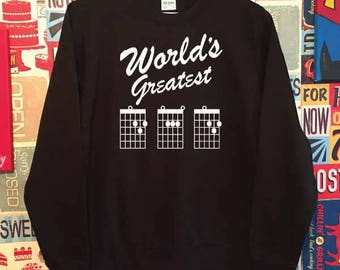 World's Greatest Guitar DAD Chords. Unisex Quality Sweatshirt. Guitarist, Guitar Tabs inspired. Xmas Christmas. Holiday Present or Gift.