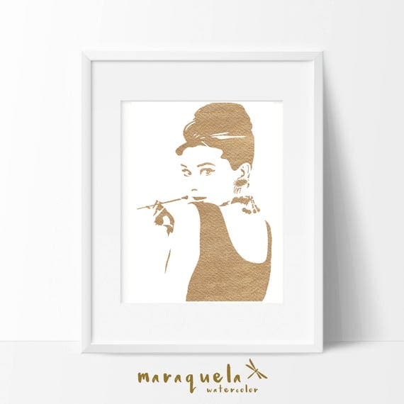 Illustration GOLDEN Audrey Hepburn silhouette watercolor. Audrey Hepburn Poster, art print, Wall bedroom wall art, bedroom fashion decor
