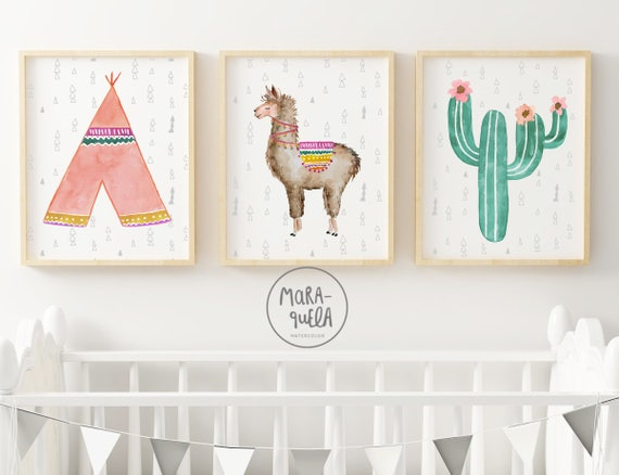 Set personalizado Llama infantil, tipí y cactus. Tonalidades rosas y verdes