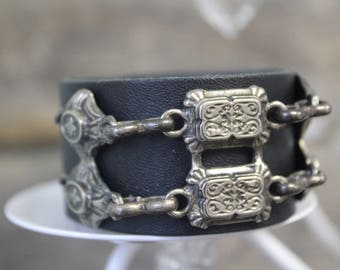 Leather Cuff with Stamped Silver Chain