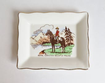 Vintage RCMP Dish, Royal Canadian Mounted Police Dish, RCMP Souvenir, RCMP Collectible, Made in England, Canada Souvenir Trinket Dish