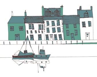 Scottish harbour print