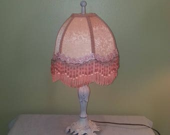 Boudoir Lamp with Fabric Shade (Silk?) and Beaded Fringe