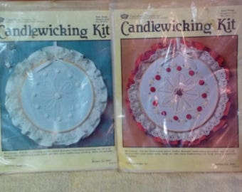 Kit-Candlewicking, Daisy Design, Choice- Colored or Natural, Vintage