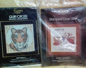Kit-Cross Stitch, Stamped, Choice-Dog or Tiger, by Golden Bee