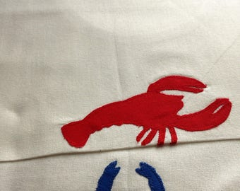 shellfish lobster or crab patterns, set of two towels
