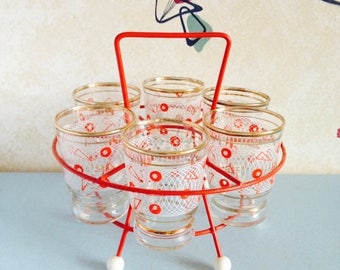 1950s/1960s Tot Glasses in Sputnik Holder
