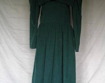 On Sale 1980's Green Long Sleeve Corduroy Dress Size 12 Blair Woolverton