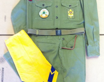 Vintage 1960's Boy Scouts Of America Official Uniform With Patches Shirt Pants Belt Buckle Neckerchief Be Prepared Council Insignia BSA