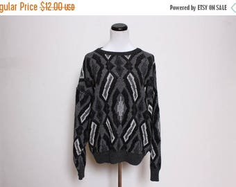25% OFF VTG 80s Black White Tribal Athletic Abstract Grandma Sweater S/M