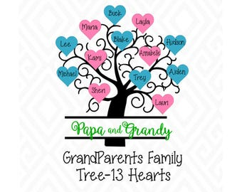 Grandparents Family Tree with 13 Hearts; SVG, EPS, Ai and Pdf Digital Files for Electronic Cutting Machines