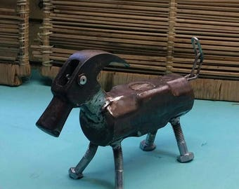 Metal Birds and Old tools Art. Sledge hammer Dog. Hand Drill Lizard