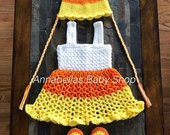 Crochet Baby Candy Corn Costume