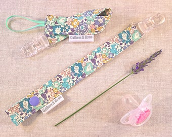 Liberty Soother and Toy Holder Clip made with Liberty Print 'Michelle'