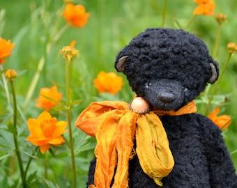 """Artist teddy Bear """"Mo"""", Stuffed Animal Bear, OOAK teddy bear, vintage toy, collection teddy bear, handmade teddy bear, black bear"""