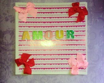 """square greeting card """"love"""" pink & white"""