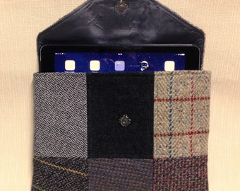 Welsh tweed patchwork iPad case/tablet case in grey