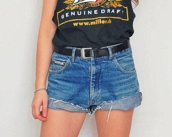 High waisted Vintage Cutoff denim shorts woman 1990's denim 34 waist XL size US 14