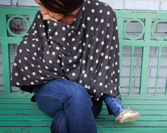 Polka Dot Nursing Poncho in Heathered Black with Oatmeal Polka Dots Perfect for Breastfeeding in Public ORGANIC