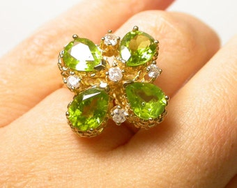 Vintage Large Peridot Ring - 14k Yellow Gold Peridot Diamond Ring - Floral Ring - Size 6 - Weight 8.5 Grams - August Birthday # 1297
