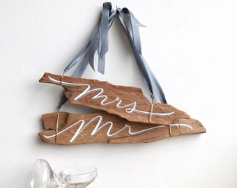 Chair Set Wedding Signs - Mr & Mrs - Driftwood Signs - Handlettered - Coastal Wedding
