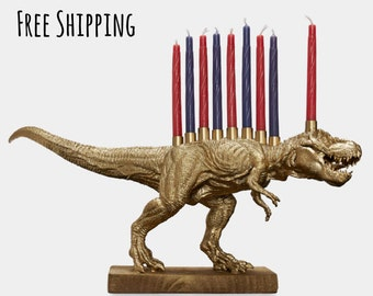 Gold Dinosaur Menorah