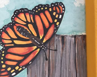 Butterfly Art, Butterfly Wall Art, Monarch Butterfly, Monarch Butterfly Art, Refurbished Art, Coneflower Art, Painting, Acrylic Painting