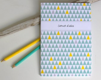 Notebook design small yellow and green TRIANGLES