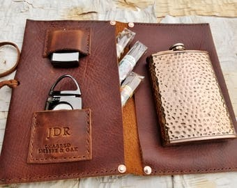 Large Leather Cigar Case w/ Hammered Copper Flask