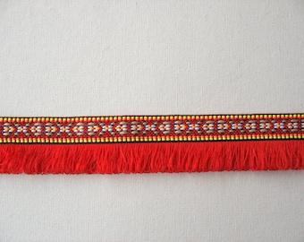 2 Yards Bohemian Fringe Trim, Fringe Ribbon, Fringe Tape,  Aztec Trim in Red  Color