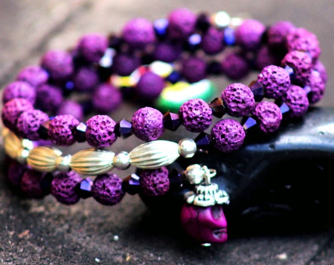 Purple lava rock memory wire bracelet