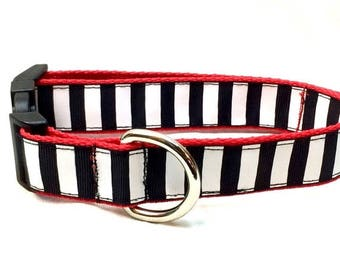 ON SALE Black and White Stripes Dog Collar, Leash or Step In Harness with Personalized Options